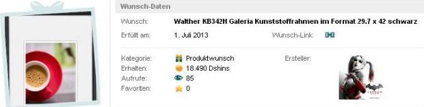 Walther KB342H Galeria Kunststoffrahmen im Format 29.7 x 42 schwarz